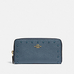 ACCORDION ZIP WALLET WITH LACQUER RIVETS - F39179 - DENIM/LIGHT GOLD