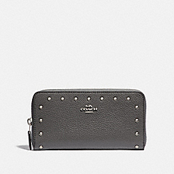COACH F39179 Accordion Zip Wallet With Lacquer Rivets HEATHER GREY/SILVER