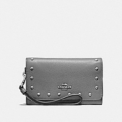 COACH F39180 - FLAP PHONE WALLET WITH LACQUER RIVETS HEATHER GREY/SILVER
