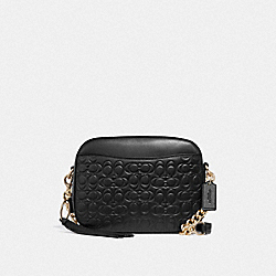 COACH F39184 - CAMERA BAG IN SIGNATURE LEATHER GD/BLACK