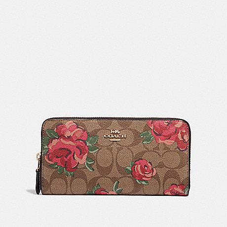 COACH F39189 ACCORDION ZIP WALLET IN SIGNATURE CANVAS WITH JUMBO FLORAL PRINT KHAKI/OXBLOOD MULTI/LIGHT GOLD