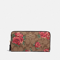ACCORDION ZIP WALLET IN SIGNATURE CANVAS WITH JUMBO FLORAL PRINT - F39189 - KHAKI/OXBLOOD MULTI/LIGHT GOLD