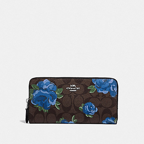 COACH F39189 ACCORDION ZIP WALLET IN SIGNATURE CANVAS WITH JUMBO FLORAL PRINT BROWN BLACK/MULTI/SILVER