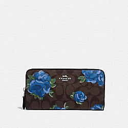 ACCORDION ZIP WALLET IN SIGNATURE CANVAS WITH JUMBO FLORAL PRINT - F39189 - BROWN BLACK/MULTI/SILVER