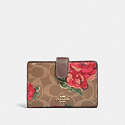 MEDIUM CORNER ZIP WALLET IN SIGNATURE CANVAS WITH JUMBO FLORAL PRINT - F39190 - KHAKI/OXBLOOD MULTI/LIGHT GOLD