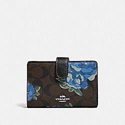 MEDIUM CORNER ZIP WALLET IN SIGNATURE CANVAS WITH JUMBO FLORAL PRINT - F39190 - BROWN BLACK/MULTI/SILVER