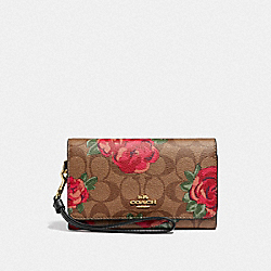 FLAP PHONE WALLET IN SIGNATURE CANVAS WITH JUMBO FLORAL PRINT - F39191 - KHAKI/OXBLOOD MULTI/LIGHT GOLD