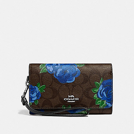 COACH F39191 FLAP PHONE WALLET IN SIGNATURE CANVAS WITH JUMBO FLORAL PRINT  BROWN BLACK MULTI 66c0eb2dbb482