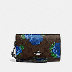 FLAP PHONE WALLET IN SIGNATURE CANVAS WITH JUMBO FLORAL PRINT - F39191 - BROWN BLACK/MULTI/SILVER