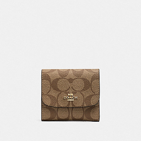 COACH F39192 SMALL WALLET IN SIGNATURE CANVAS KHAKI/NEON PINK/LIGHT GOLD