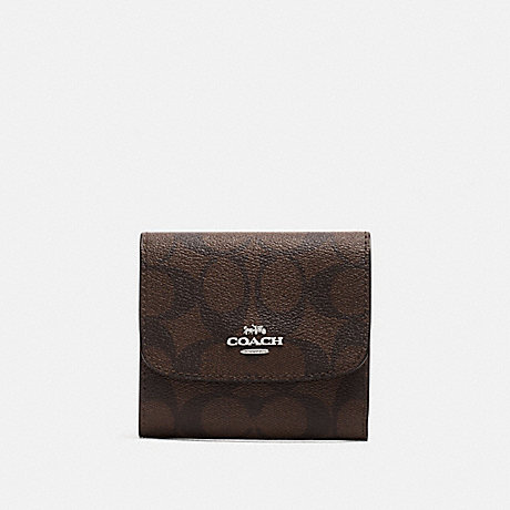 COACH F39192 SMALL WALLET IN SIGNATURE CANVAS BROWN/NEON YELLOW/SILVER