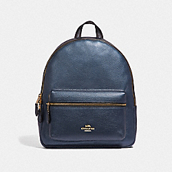 MEDIUM CHARLIE BACKPACK - F39196 - METALLIC DENIM/LIGHT GOLD