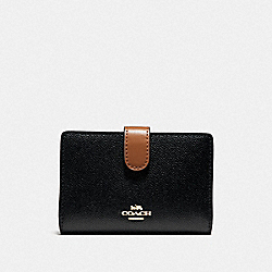 COACH F39199 Medium Corner Zip Wallet BLACK/SADDLE/LIGHT GOLD