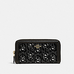 ACCORDION ZIP WALLET WITH CHAIN PRINT - F39203 - BLACK/LIGHT GOLD