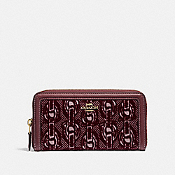 ACCORDION ZIP WALLET WITH CHAIN PRINT - F39203 - CLARET/LIGHT GOLD