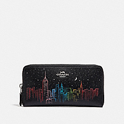 ACCORDION ZIP WALLET WITH SKYLINE PRINT - F39204 - BLACK/GUNMETAL MULTI/SILVER