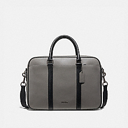 COACH F39209 - PERRY SLIM BRIEF IN COLORBLOCK HEATHER GREY/BLACK ANTIQUE NICKEL