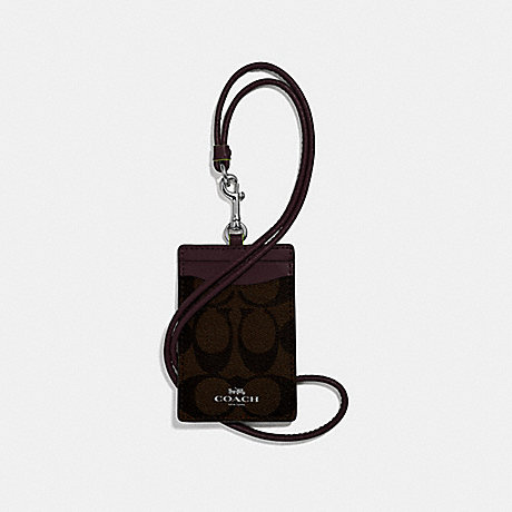 COACH F39211 ID LANYARD IN SIGNATURE CANVAS BROWN/NEON YELLOW/SILVER