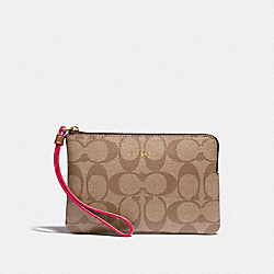 COACH F39213 Corner Zip Wristlet In Signature Canvas KHAKI/NEON PINK/LIGHT GOLD