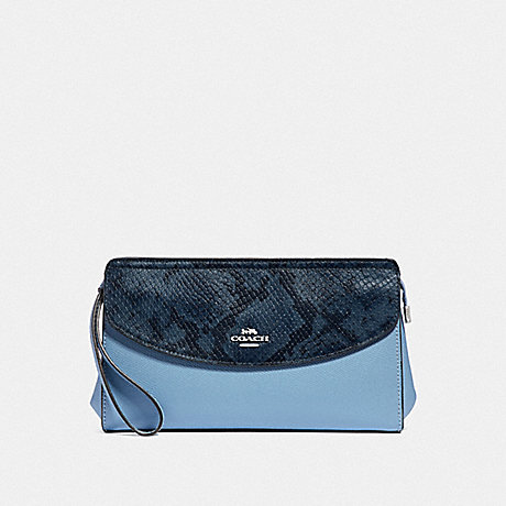 COACH F39219 FLAP CLUTCH CORNFLOWER/MIDNIGHT/SILVER