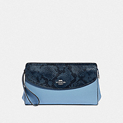 FLAP CLUTCH - F39219 - CORNFLOWER/MIDNIGHT/SILVER