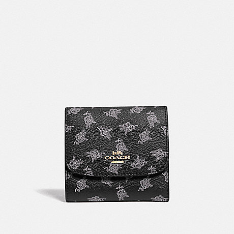 COACH F39224 SMALL WALLET WITH CALICO PEONY PRINT BLACK/MULTI/LIGHT GOLD