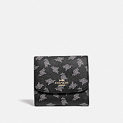 SMALL WALLET WITH CALICO PEONY PRINT - F39224 - BLACK/MULTI/LIGHT GOLD