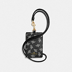COACH F39226 - ID LANYARD WITH CALICO PEONY PRINT BLACK/MULTI/LIGHT GOLD