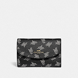 COACH F39227 Key Case With Calico Peony Print BLACK/MULTI/LIGHT GOLD