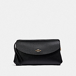 COACH F39234 Flap Clutch BLACK/LIGHT GOLD