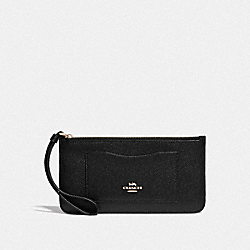 COACH F39236 Zip Top Wallet BLACK/LIGHT GOLD