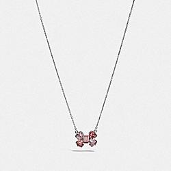 COACH F39259 Crystal Bow Necklace SV/PEACH