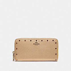 COACH F39260 Accordion Zip Wallet With Crystal Rivets B4/NUDE PINK