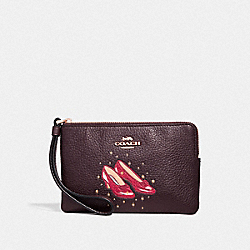 CORNER ZIP WRISTLET WITH RUBY SLIPPERS - F39269 - OXBLOOD 1/LIGHT GOLD