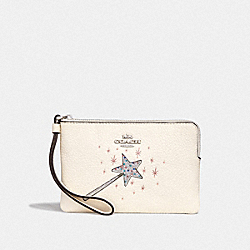 COACH F39271 Corner Zip Wristlet With Wand CHALK/SILVER