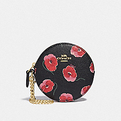 COACH F39272 Round Coin Case With Poppy Print BLACK/MULTI/LIGHT GOLD