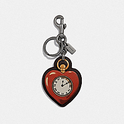 COACH F39274 Tin Man Heart Bag Charm RED MULTI/BLACK ANTIQUE NICKEL