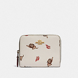 COACH F39297 Small Zip Around Wallet With Wizard Of Oz Print CHALK MULTI/LIGHT GOLD