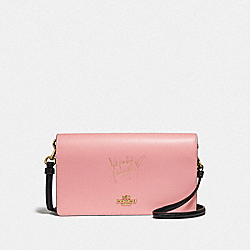 SELENA HAYDEN FOLDOVER CROSSBODY CLUTCH IN COLORBLOCK - F39312 - PEONY/GOLD