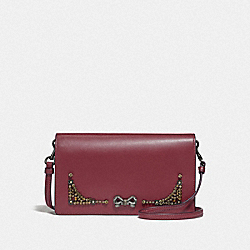 SELENA HAYDEN FOLDOVER CROSSBODY CLUTCH WITH CRYSTAL EMBELLISHMENT - F39313 - WINE/GUNMETAL
