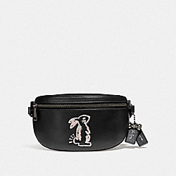 COACH F39316 - SELENA BELT BAG WITH BUNNY BLACK/GUNMETAL
