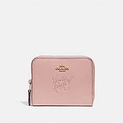 COACH F39317 - SELENA SMALL ZIP AROUND WALLET IN COLORBLOCK PEONY/GOLD