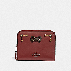 SELENA SMALL ZIP AROUND WALLET WITH CRYSTAL EMBELLISHMENT - F39318 - WINE/GUNMETAL