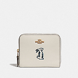 COACH F39319 - SELENA SMALL ZIP AROUND WALLET WITH BUNNY CHALK/GOLD