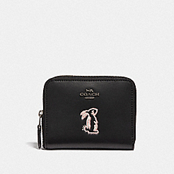 COACH F39319 - SELENA SMALL ZIP AROUND WALLET WITH BUNNY BLACK/GUNMETAL