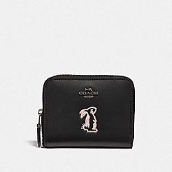 COACH F39319 Selena Small Zip Around Wallet With Bunny BLACK/GUNMETAL