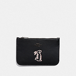 COACH F39322 - SELENA ZIP CARD CASE WITH BUNNY BLACK/GUNMETAL