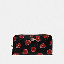 COACH F39367 Accordion Zip Wallet With Poppy Print BLACK/MULTI/LIGHT GOLD