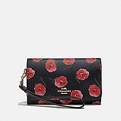 COACH F39369 Flap Phone Wallet With Poppy Print BLACK/MULTI/LIGHT GOLD