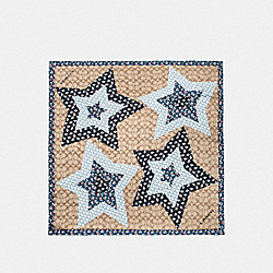 SIGNATURE LUCKY STAR PATCHWORK SILK SQUARE - F39391 - KHAKI